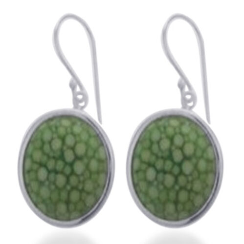 Lime Green Stingray Leather Hook Earrings