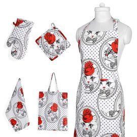 Kitchen Textiles - 100% Cotton Red, White and Black Colour Cat Printed Apron (75x65 Cm), Glove (32x18 Cm), Pot Holder (20x20 Cm), Kitchen Towel (65x40) and Bag (45x35 Cm)