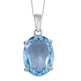 Limited Edition Rare AAA Sky Blue Topaz (Ovl) Pendant With Chain in Rhodium Plated Sterling Silver 11.500 Ct.