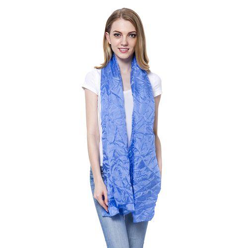 New Season-100% Mulberry Silk Pantone Niagara Blue Colour Scarf (Size 180x110 Cm)