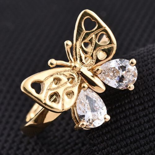 J Francis - 14K Gold Overlay Sterling Silver (Pear) Butterfly Ring Made with SWAROVSKI ZIRCONIA
