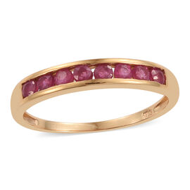African Ruby (Rnd) Band Ring in 14K Gold Overlay Sterling Silver 0.850 Ct.
