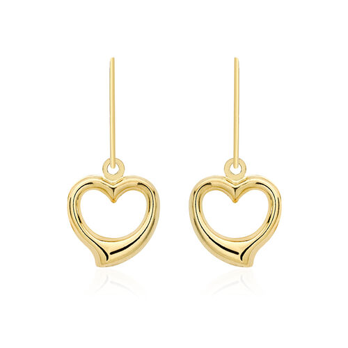 Vicenza Collection 9K Yellow Gold Open Heart Drop Hook Earrings