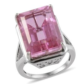 Kunzite Colour Quartz (Oct) Solitaire Ring in Platinum Overlay Sterling Silver 19.500 Ct.