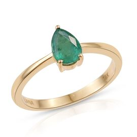 ILIANA 18K Yellow Gold 0.50 Carat Boyaca Colombian Emerald Pear Solitaire Ring.
