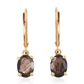 Natural Zawadi Golden Sheen Sapphire (Ovl) Lever Back Earrings in 14K Gold Overlay Sterling Silver 3.000 Ct.