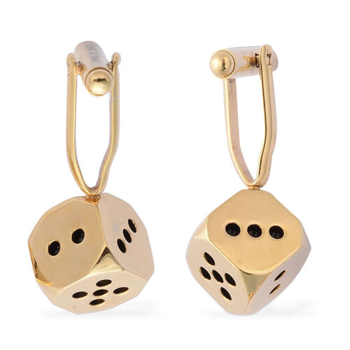 Yellow Gold Plated Stainless Steel Dice Cufflink Lock