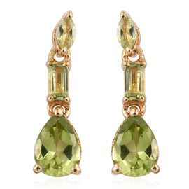 AA Hebei Peridot (Pear) Earrings (with Push Back) in 14K Gold Overlay Sterling Silver 1.750 Ct.