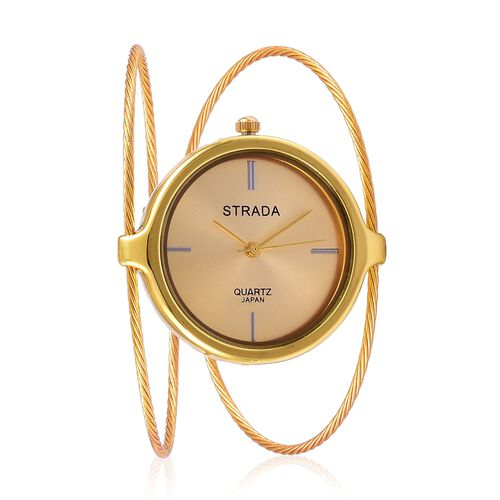 STRADA Japanese Movement Golden Colour Dial Water Resistant Bangle Watch in Gold Tone with Stainless Steel Back