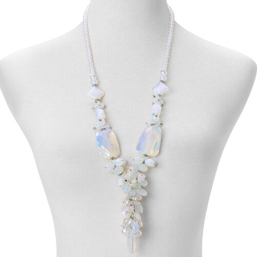 Opalite, White Quartz, Simulated White Diamond, White Glass Pearl and Simulated Grey Moonstone Cluster Necklace (Size 29) in Silver Tone
