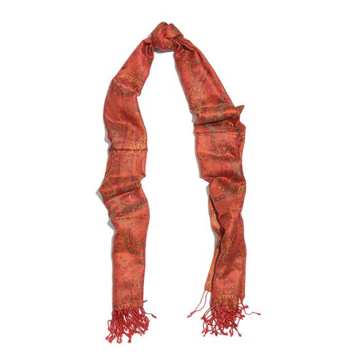SILK MARK - 100% Superfine Silk Red, Yellow and Multi Colour Jacquard Jamawar Scarf with Fringes at the Bottom (Size 180x70 Cm) (Weight 125 - 140 Gms)