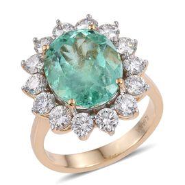 ILIANA 18K Y Gold Boyaca Colombian Emerald (Ovl 5.75 Ct), Diamond Ring 7.750 Ct.
