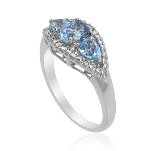Espirito Santo Aquamarine (0.40 Ct)Sky Blue Topaz and Diamond Platinum Overlay Sterling Silver Ring  1.070  Ct.