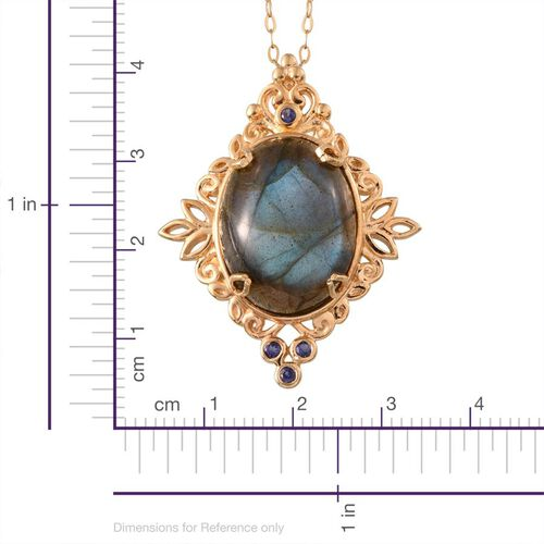 Labradorite (Ovl 18.90 Ct), Iolite Pendant With Chain in 14K Gold Overlay Sterling Silver 19.000 Ct.