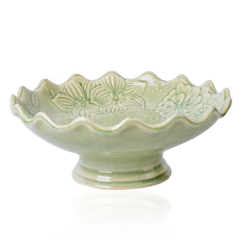 Green Colour Flower Shape Ceramic Fruit and Cake Stand (Size 25.5X10 Cm)