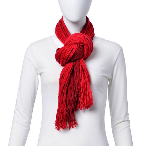 Designer Inspired Double Layered Red Colour Scarf (Size 160x20 Cm)