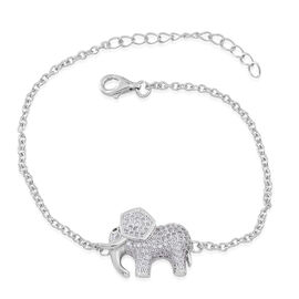 ELANZA AAA Simulated White Diamond (Rnd) Elephant Charm Bracelet (Size 6.5 with 1 inch Extender) in Rhodium Plated Sterling Silver