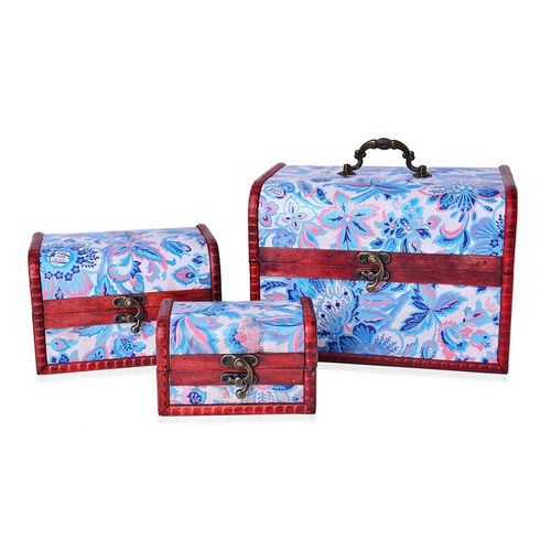 Set of 3 - Handcrafted Blue Colour Floral Pattern Vintage Style Jewellery Box (Large 22X16X15.5 Cm), (Medium 16X11X10.5 Cm) and (Small 12X7.5X7.5 Cm)