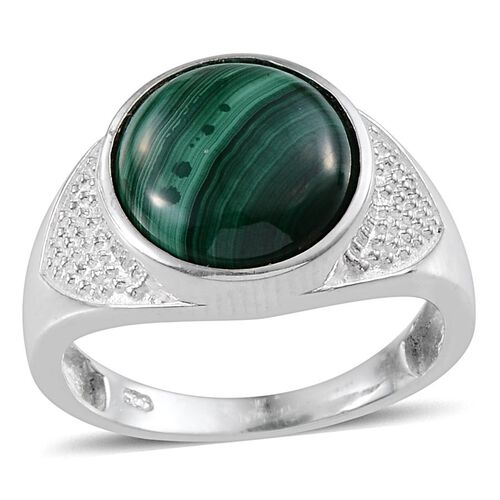 Malachite (Rnd) Solitaire Ring in Sterling Silver 6.500 Ct.
