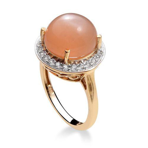 Mitiyagoda Peach Moonstone (Rnd 5.25 Ct), White Topaz Ring in 14K Gold Overlay Sterling Silver 5.750 Ct.