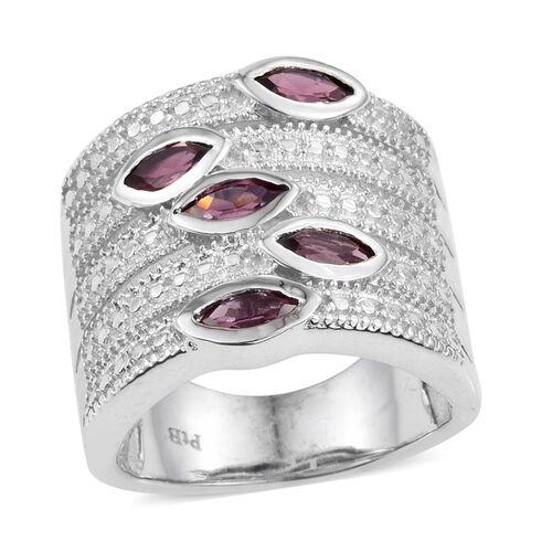 Rhodolite Garnet (Mrq) 5 Stone Ring in ION Plated Platinum Bond 1.500 Ct.