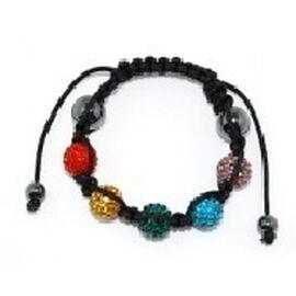 Rainbow Multi Colour Austrian Crystal and Hematite Bracelet (Adjustable)