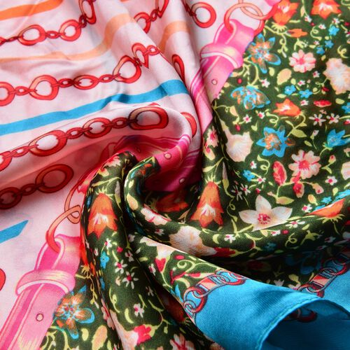 Red and Peach Colour Chain and Stripe Pattern Scarf with Multi Floral Border (SIze 170x90)