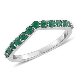 RHAPSODY 950 Platinum 0.50 Carat Boyaca Colombian Emerald  Wishbone Ring