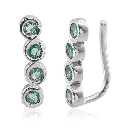 Boyaca Colombian Emerald (Rnd) Climber Earrings in Platinum Overlay Sterling Silver 1.000 Ct.