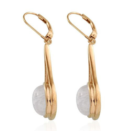 Natural Rainbow Moonstone (Ovl) Earrings in 14K Gold Overlay Sterling Silver 8.000 Ct.
