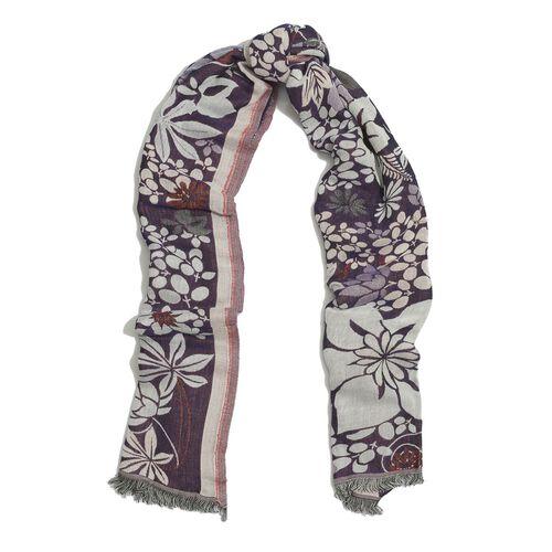 Multi Colour Floral Pattern Purple Colour Scarf (Size 170x70 Cm)