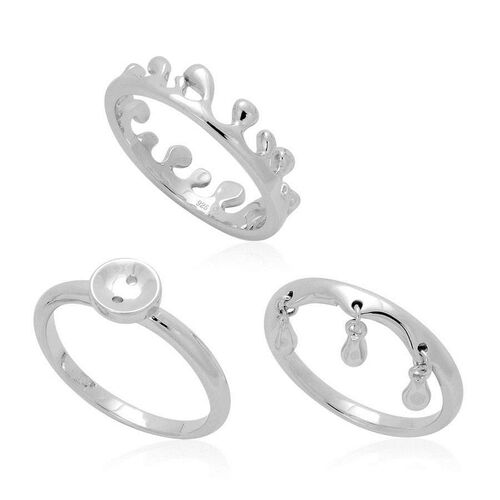 Set of 3 - LucyQ Button, Triple Drip and Ocean Wave Ring in Rhodium Plated Sterling Silver