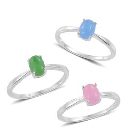 Set of 3 - Blue, Green and Pink Jade (Ovl) Solitaire Ring in Sterling Silver 3.000 Ct.