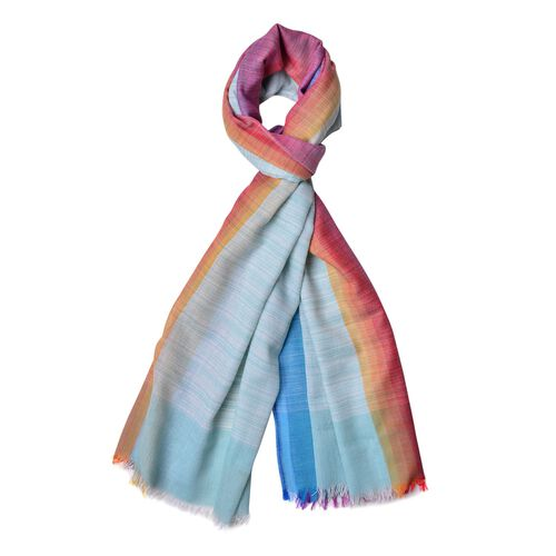 Turquoise, Purple and Multi Colour Stripes Pattern Scarf with Fringes (Size 180X90 Cm)
