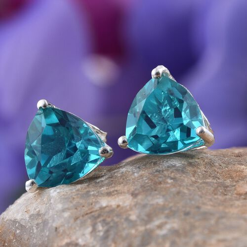 Capri Blue Quartz (Trl) Stud Earrings (with Push Back) in Sterling Silver 4.500 Ct.