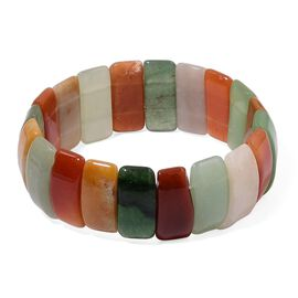 One Time Deal-Rare Shape Multi Colour Brazilian Aventurine Stretchable Bracelet 358.000 Ct.
