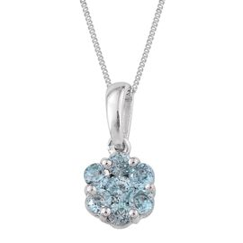 AA Natural Cambodian Blue Zircon (Rnd) 7 Stone Floral Pendant With Chain in Platinum Overlay Sterling Silver 1.250 Ct.
