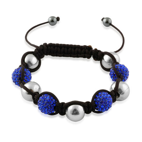 Shamballa Friendship Blue Austrian Crystal and Silvertone Beads Bracelet (Adjustable)