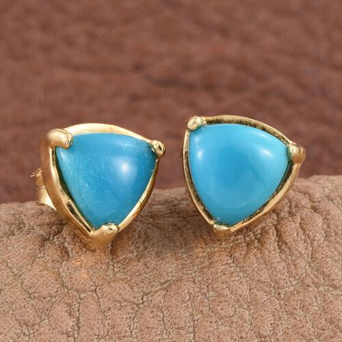 Kingman Turquoise (Trl) Stud Earrings (with Push Back) in 14K Gold Overlay Sterling Silver 1.250 Ct.