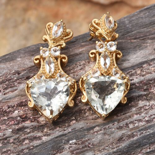 Stefy Green Amethyst (Trl), Pink Sapphire Earrings (with Push Back) in 14K Gold Overlay Sterling Silver 11.750 Ct.Silver Wt. 10.47 Gms