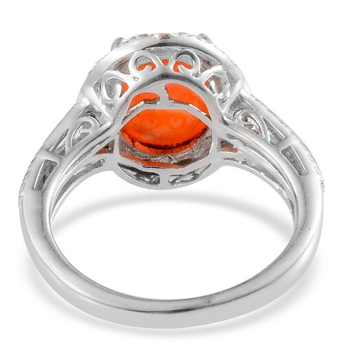 Orange Ethiopian Opal (Ovl 1.50 Ct), Diamond Ring in Platinum Overlay Sterling Silver 1.520 Ct.