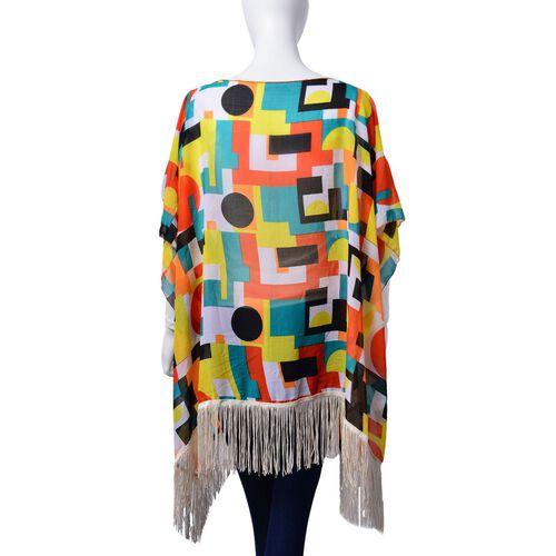 Geometric Pattern Multi Colour Poncho (Free Size)