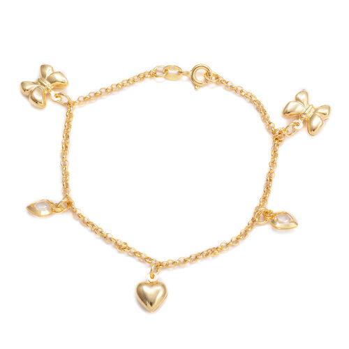 Close Out Deal White Austrian Crystal Bracelet with Heart and Butterfly Charm in 14K Gold Overlay Sterling Silver (Size 7.5), Silver wt 4.50 Gms.