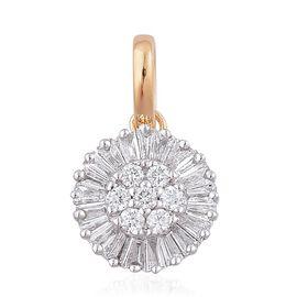 ILIANA 18K Yellow Gold 0.50 Carat Diamond Cluster Pendant IGI Certified SI G-H.