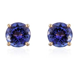 ILIANA 18K Y Gold AAA Tanzanite (Rnd) Stud Earrings (with Screw Back) 3.000 Ct.