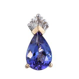 ILIANA 18K Yellow Gold 1.26 Carat AAA Tanzanite Pear Crown Pendant with Diamond SI G-H.