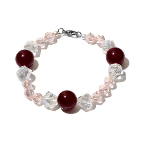 Jewels of India Ruby Quartzite, Glass Beads Necklace (Size 20) and Bracelet (Size 8) in Silver Tone 313.08 Ct.
