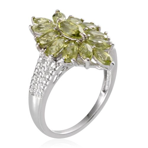 Hebei Peridot (Mrq) Ring in Platinum Overlay Sterling Silver 2.900 Ct.