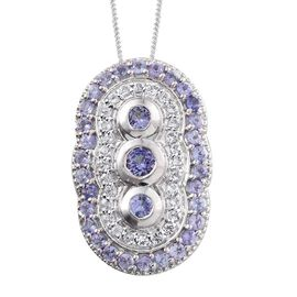 Tanzanite (Rnd), White Topaz Pendant With Chain in Platinum Overlay Sterling Silver 2.250 Ct.