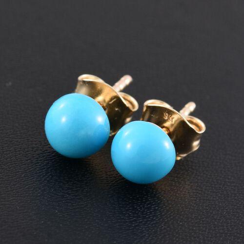 9K Yellow Gold 1.50 Carat Arizona Sleeping Beauty Turquoise Round Ball Stud Earrings (with Push Back)
